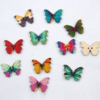 Wholesale Acces 50pcs butterfly wooden 2- holes buttons 28*20...