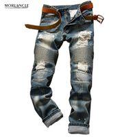 Toptan-2020 Erkek Yırtık Biker Kot Moda Sıkıntılı Denim Joggers Adam Streetwear Için Tahrip Moto Jeans Pantolon Pantolon