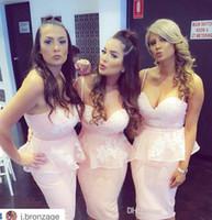 vintage blush Summer Hot Sale Short Beach Bridesmaid Dresses Spaghetti Peplum Appliques Lace Organza Mini Bridesmaid Gowns