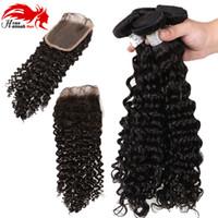 3 bundles tessuto dei capelli umani onda profonda con chiusura 7a onda del corpo peruviano con chiusura capelli umani poco costosi non trattati con chiusura