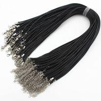 100 шт. лот Оптовая 2 мм черный воск кожаный шнур ожерелье веревка 45 см длинная цепь карабинчиком DIY ювелирных изделий компоненты