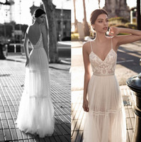 Alluring Backless Beach Wedding Dresses Lace Applique A- Line...