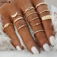 12 pc / set Charme-Goldfarben-Midi-Finger-Ring-Set für Frauen-Weinlese Boho-Knöchel-Partei-Ring-Punkschmucksache-Geschenk für Mädchen