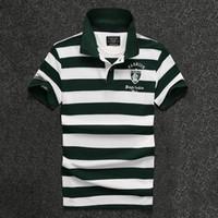 2017 neue Männer T-Shirt Mode Streifen Revers Stickerei Brief dünnes Hemd Männer Top heißer Verkauf Kurzarm-Shirt Designer reine T shir
