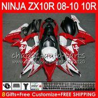 8Hediyelik 23Colors Vücut Kawasaki NINJA ZX 10 R ZX10R 08 09 10 47HM18 ZX 10R kırmızı beyaz ZX1000 C ZX1000C ZX-10R 2008 2009 2010 Fairing kit