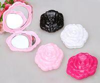 Schöne 3D-Rosenform Kompakter kosmetischer Spiegel Netter Mädchen-Makeup-Spiegel 100pcs / lot
