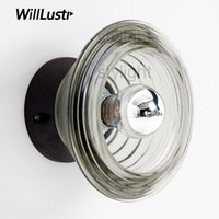 Pressed Glass bowl wall lamp wall sconce modern clear glass ...