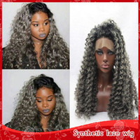 Hot Sexy Afro kinky curly hair ombre gray wigs with baby hai...