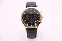 2017, nuovo marchio AEHIBO, nuovi orologi da uomo, cronografo al quarzo VK con movimento dei secondi, cinturino in pelle nera, quadrante nero 3, watchca dorato