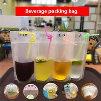 Transparente auto-sellado bolsa de bebidas de plástico beber leche contenedor de café beber jugo de fruta bolsa de almacenamiento de alimentos IA542