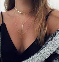 Splendidi girocolli multistrato Collane Argento / Oro Tono Cerchio Paillettes Collane Girocolli Donna Moda Girocolli