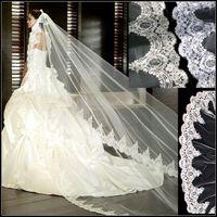 Роскошный белый / слоновая кость вуаль венчания фату Lace Appliqued 3 метра собор Длинные фата для свадебного платья