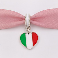 925 Silver Beads Italy Heart Flag Pendant Charm Fits European Pandora Style Jewelry Bracelets & Necklace for jewelry making 791547ENMX