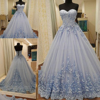 Dusty Blue Lace Up Prom Dresses 2017 Sweetheart Lace Appliqu...