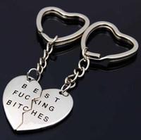 Mejores encadenan perras llavero Carta de los mejores amigos de BFF para los amantes grabado llave del corazón Llaveros el regalo del adminículo de Navidad