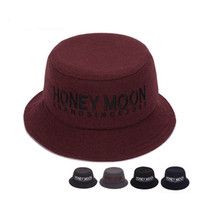 Sonbahar Kış Erkek Kadın Yün Fisherman's Şapka Moda Fötr Şapka Kap Hissettim 5 Renkler için Mektup Taşınabilir Kova Şapkalar Unisex GH-258