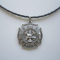 Novo Vintage Prata Banhado Herói bombeiro Departamento Departamento Charme Colar Colar-OC010SL Brand New Frete Grátis