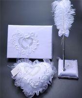 3Pc ensemble toile de jute toile de jute dentelle cristal livre d'or de mariage livre stylo ensemble anneau oreiller jarretière décoration amour coeur bague de mariage oreillers fournitures de mariage