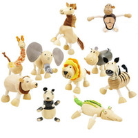 Baby Moveable Wooden Animals Toys Kids Wood Handmade Farm 24...