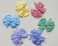 4Style disponível! Girls School Bow Bobbles Bobbles Clipes Alice Bandas Headband Headband Gingão Plaid 20pcs /