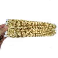 Brasilianische lockige Jungfrau-Haar-Haut-Schuss-Band-Haar-Verlängerungen 40pcs / pack brasilianische verworrene lockige extensiones cabello natürliches adhesivas 100g