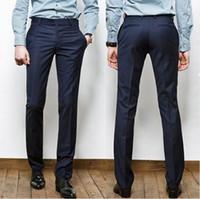 Atacado - 2017 Hot vender homens moda calças Slim homens ocidental estilo calças azul marinho