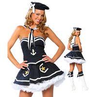 Venta al por mayor-alta calidad Nueva ropa sexy de Halloween para mujer Vestido de marinero azul marino Cosplay para la venta caliente de Halloween