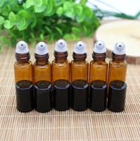 100шт 5 мл Янтарь рулон-на роликовые бутылки для эфирных масел рулон-на многоразового флакон духов дезодорант контейнеры с черной крышкой
