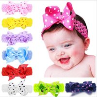 "Baby Girls 4"" bow Headbands Forked Tail Dot Bow Kids Po..."