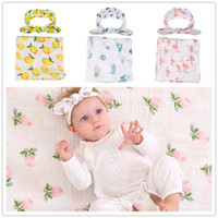 4colors Baby cute print gauze blankets 2pc sets headband+ cot...