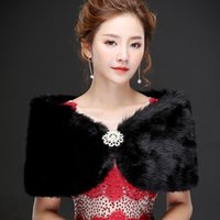 Real photos Sexy Black Faux Fur Warm Bridal Bolero Wedding J...