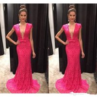 Vestido de Fiesta Sexy Fuchsia Lace Mermaid Designer Evening...