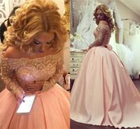 Sedutor Plus Size Vestido De Baile Vestidos de Baile 2019 Bateau Cristais Apliques de Mangas Compridas Vestidos de Noite Blush Rosa Formal Vestidos Pageant Partido