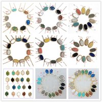 Druzy Drusy Collier Earrigns 10 styles Marque 11 Couleurs Silver / Gold Plating Hexagon Stone Choker pour Femmes Fashion Necklaces Jewelry