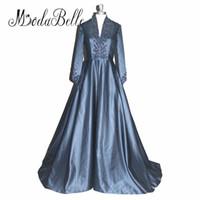Azul Marino Vestidos de Noche Kaftan Marroquí Vestido De Festa Una línea de Madre Gótica de los Vestidos de Novia Vestidos de Fiesta Formales Africanos