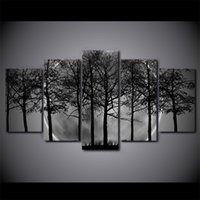 HD printed 5 piece Black and white Painting Art Print Canvas...