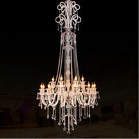 Большие Кристалл люстра роскошь кристалл свет мода люстра кристалл свет современный зал клуба дуплекс лестницы подвесной светильник