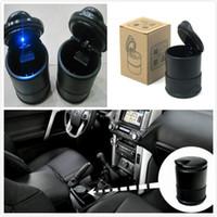 Haute texture véhicule cendrier voiture cendriers retardateur de flamme avec la lumière LED 9.5x7cm noir haute qualité Portable Cigarette Accessoires livraison DHL