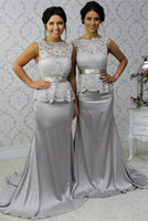 2017 Formal Silver Pink Mermaid Lace Bridesmaid Dresses Swee...