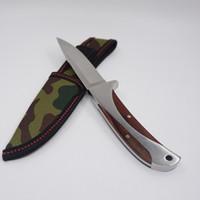 포켓 스트레이트 나이프 Tactical Survival Knife 칼날 목재 핸들 440 옥외 고정 블레이드 사냥 칼 Steel Camping EDC Tools