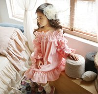 Everweekend Girls Flower Neckline Princess Dress Cotton Ruff...