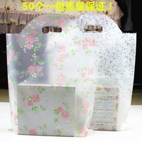 100pcs 20*25cm Small Rose Flower Frosted Plastic Bag , Shopp...