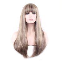 Woodfestival 합성 가발 뱅즈 여성 코스프레 여성의 가발 긴 직선 머리 Ombre 금발 블랙 믹스 컬러 다크 브라운