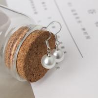 8 MM perla natural de agua dulce pendiente de la perla natural pendiente del perno de la perla al por mayor envío gratis