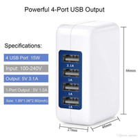 2018 3. 1A 15W High Speed 4 Port USB Wall Charger Portable Tr...