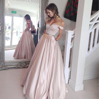 Soft Pink Vestidos Longo Prom com bolsos Off Shoulder Frisado Sash Zipper V Backless Satin Vestido formal 2017 Cheap A-Line Vestidos de noite
