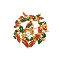 뜨거운 남여 크리스마스 선물 크리스마스 벨 브로치 라인 석 갈 랜드 하트 Jingling 브로치 핀 여성 남성 쥬얼리 12 PC를