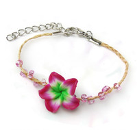Bracciale a forma di fiore fatto a mano in felce, lavorato a mano, con bracciale di fiori naturali plumeria intrecciati