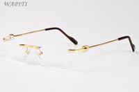 무테 선글라스를 들어 남성 2020 여성 고유 중공 합금 무테 선글라스 성격 대형 버팔로 호른 안경 Lunettes Gafas