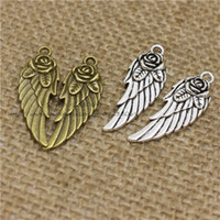 PULCHRITUDE 40pcs 11*30mm Rose Angel Wings Charms Wholesale ...
